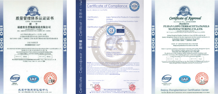Honor och certifikat - LOPO Terracotta Products Corporation
