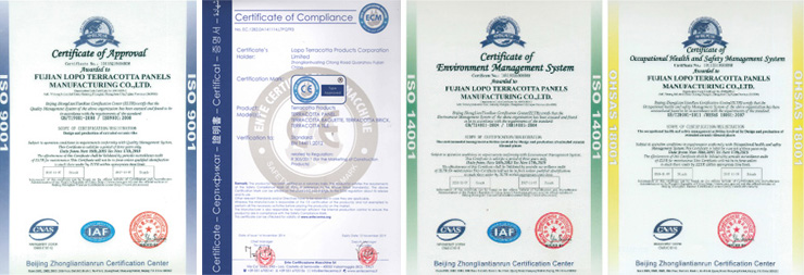 Certificates of LOPO Terracotta