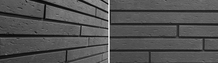 Exteriörväggsplattor med långa tunna tegelstenar