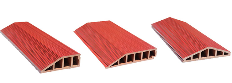 red glazed triangular and trapezoidal different-sided terracotta panel